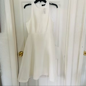 NWT NATORI off white fit and flare textured structure zip Up back midi dress 6